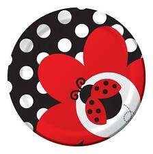 Fancy Ladybug Polka Dot Lunch Party Plates x 8