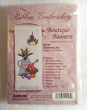 """Janlynn Counted Cross Stitch Kit with Ribbon Embroidery Boutique Banners 7"""""""