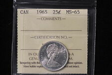 "1968 Canada. 25 Cents. ""Silver"". ICCS Graded MS-65. (XLR471)"