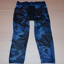 NWT Men's Nike Pro Combat Hypercool Compression 3/4 Tights Blue/Black Camo L