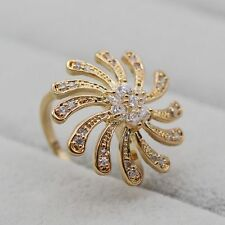 Unique Crystal Cubic Zirconia 18K Gold Plated Women Wedding Ring Size 8 Jewelry