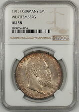 1913F Germany Wurttemberg 5M Marks Silver Coin NGC AU-58 Toned