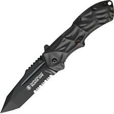 Smith and Wesson Black Ops Knife 3rd Gen Gray Handle Black Combo Edge SWBLOP3TS