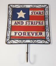 Square Patriotic Flag Plaque with Hook Stars and Stripes Forever 4th of July