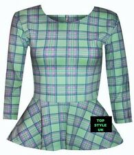 New Ladies Back Zip Tartan Checked Long Sleeve Stretchy Frill New Peplum Top