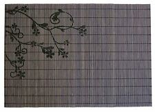 Eco Friendly Grey Black Floral Printed Bamboo Placemats 17 inches, Set of 6 mats