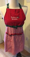 Kay Dee Designs Christmas Holiday Hostess Apron Red White Green Tie Waist