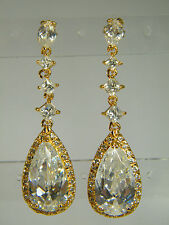 EARRINGS: MAGNIFICENT WHITE TOPAZ MARQUISE&PRINCESS&PEAR 18K YELLOW GOLD OVERLAY