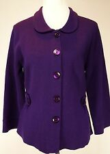 Semantiks Size L Dark Purple Knit Blazer Jacket 50% Merino Wool 50% Acrylic
