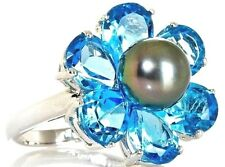Designs By Turia Cultured Tahitian Pearl 8 mm & Blue Topaz Floral Ring Sz 6