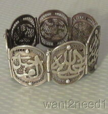 """old handcrafted Turkish Ottoman SILVER FILIGREE BRACELET 1.5"""" wide hinged 47g"""