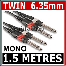 "1.5M Twin MONO 1/4 Jack to Jack 6.3mm CABLE 6.35 LEAD 6.35mm 1/4"" Plug"