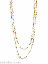 "Auth New Tory Burch Convertible Station Necklace Evie Pearl Rosary 40"" Length"