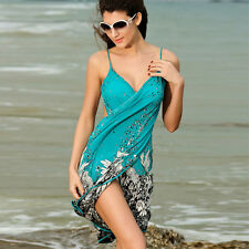 Summer Beach Wear V-Neck Sexy Flower Printed Party Dresses Long Dress