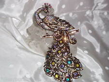 "NIB Exquisite JOAN RIVERS ""PEACOCK"" Antique Bronze & Crystal  Pin / Brooch"