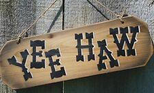 YEE-HAW Rustic Western Wood Sign Farm Ranch Home Decor Fence Board & Jute Rope