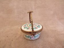 """Vintage Limoges France Mini Basket Trinket Box (2.5"""" x 2"""")"""
