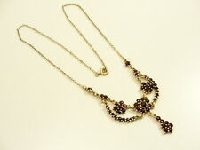 GRANAT COLLIER HALSKETTE 900 SILBER VERGOLDET GARNET NECKLACE COLLANA ARGENTO