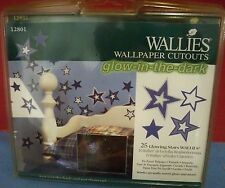 Vintage Wallies Cutout Stars Glow in the Dark 25 Pc New Pack Prepasted Wallpaper