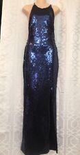 Freddi Gown Navy Sequined Halter Slit Leg Size 6-8