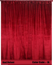 Saaria Velvet Curtain Panel Drape Home Theater Curtain Backdrop 10'W x 8'H Red1A