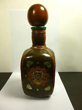 VINTAGE LIQUOR DECANTER BOTTLE LEATHER WRAPPED WOOD BALL STOPPER MADE IN ITALY