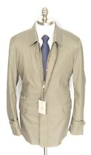 New BRIONI Camel Silk Leather Storm System Zip 3/4 Jacket Coat 54 XL NWT!
