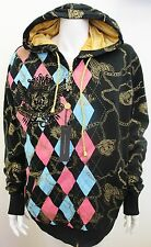 NWT Christian Audigier Ed Hardy Men's Chain Crest Hoodie Jacket Black X-LARGE