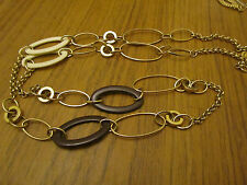 """Gold Tone Brown & White Plastic Ovals M&S Chain Necklace - 33"""" long"""