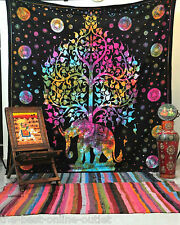 TAPESTRY INDIAN WALL HANGING Elephant Tree of Life Tapestries Hippie Bohemian