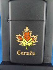 ZIPPO SLIM LIGHTER NIAGARA FALLS FACTORY CANADA MAPLE LEAF BLACK UNSTRUCK1999
