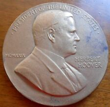 "HERBERT HOOVER 1929  INAUGURATION BRONZE  MEDAL 3""  SOLD OUT MINT"