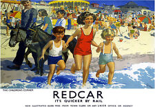 Art Ad Redcar The Childrens Corner LNER Rail Travel Railway  Poster Print