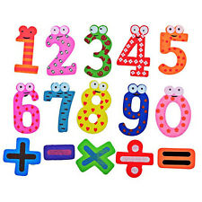 15Pcs Wood  Numbers Alphabet Fridge Magnets for Kids Baby Education Toy Gift New