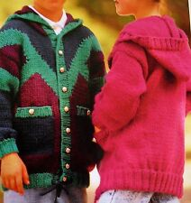 "R704 Boys Girls Chunky Hooded Jacket  20"" -30"" Vintage Knitting Pattern"