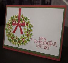 "Stampin Up ""Happy Wonderful Christmas"" Wondrous Wreath Handmade Card"