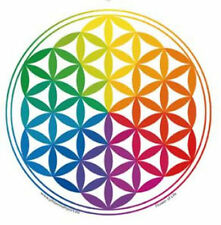Mandala Arts Window Sticker: Flower of Life Rainbow with white Background