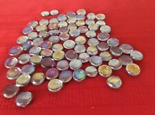 75 Iridescent Clear Glass Marbles Gems Mosaic Tiles Floral Vase Fillers