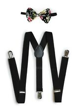 Floral Black Suspender and Bow Tie Set for Adults Men Women Teenagers (USA)