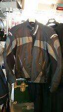 Black Leather TEKNIC Padded Racer Racing Bike Motorcycle Jacket Sz 40/50