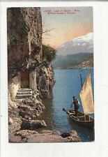 80780 ANTICA  cartolina  LAGO DI GARDA RIVA MOTIVO PRESSO IL PONALE UOMO E BARCA