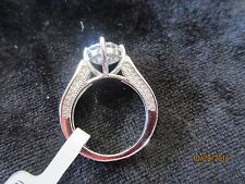 RHODIUM PLATED STERLING SILVER RING WITH 3.86 CT BELLA LUCE (R) ~  SIZE 6
