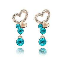 18K Rose Plated Made With Swarovski Crystal Round Cut Teal Double Heart Earrings