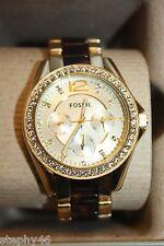 NEW! NIB! FOSSIL Ladies Gold Tortoise RILEY Chronograph Glitz Watch $155 ES3343
