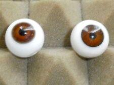 """Paire de vieux yeux en verre marron 18 mm/0.71""""/1930s/vintage"""