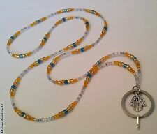 HAMSA Hand Luck & Glass ID Badge Holder HANDMADE Beaded Lanyard Fashion Necklace