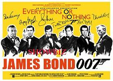 * JAMES BOND * LARGE UNIQUE AUTOGRAPH SIGNED CAST MOVIE POSTER PHOTO PRINT