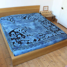 Blue Fairy dreaming throw Fair Trade Double Bed spread cover drape wall hanging