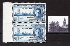 MAURITIUS 1946 20c VICTORY WITH 'FLAG' VARIETY CW S5b FINE USED.