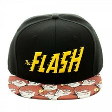 DC COMICS FLASH TEXT LOGO SUBLIMATED FACES BILL BLK  ADJUSTABLE SNAPBACK HAT CAP